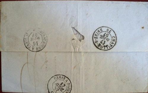 osl sello 14a francia en carta circulada 1857