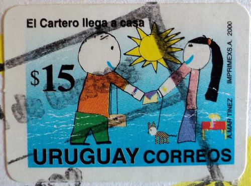 osl sello 1891 uruguay cartero llega a casa