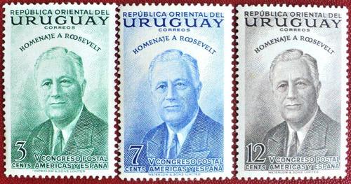 osl sello 620 al  622 nuevos uruguay roosvelt precio x todos
