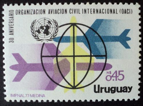 osl sello 979 mint uruguay oaci aviación