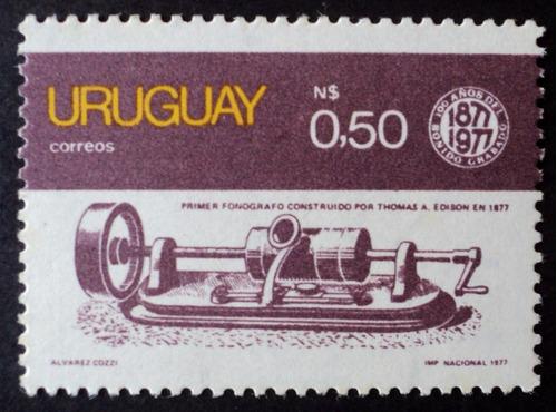 osl sello 993 mint uruguay fonógrafo