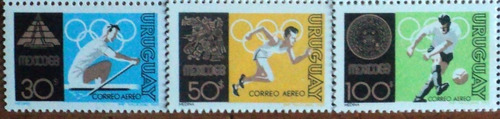 osl sello aéreo 345 al 347 uruguay juegos olimp méxico
