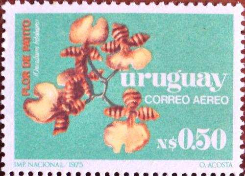 osl sello aéreo 406 mint uruguay - flor orquidea