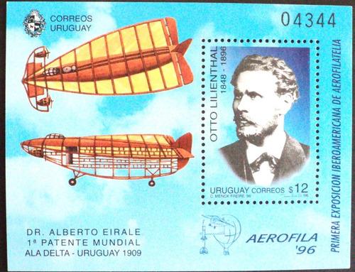 osl sello hojita 58 mint uruguay ala delta aviación