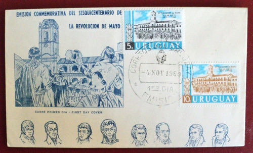 osl sello primer dia uruguay revolución 25 mayo argentina