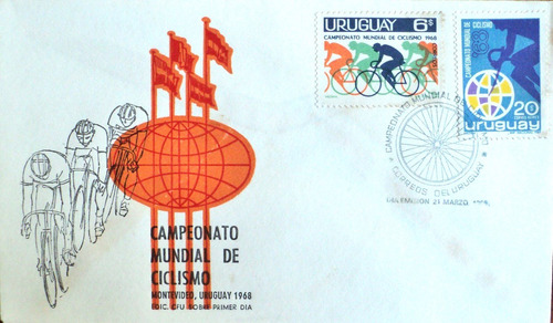 osl sello sobre 1er día fdc uruguay ciclismo deportes