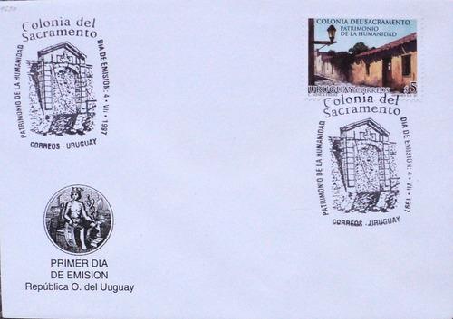 osl sello sobre 1er dia fdc uruguay colonia del sacramento