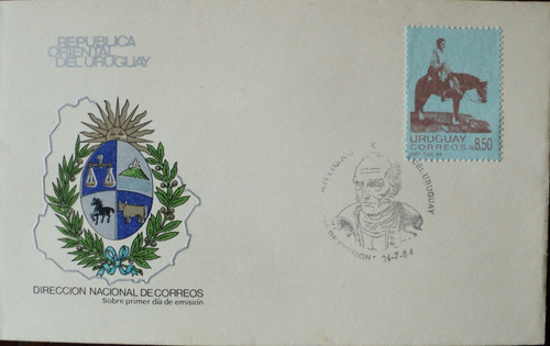 osl sello sobre fdc uruguay artigas a caballo