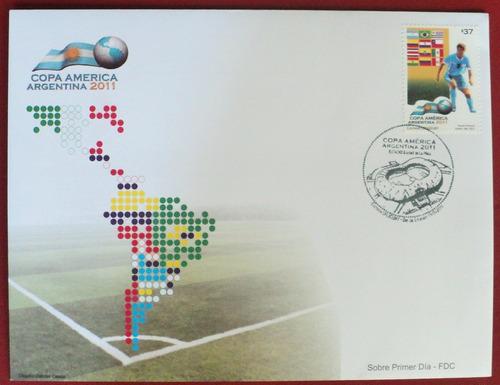 osl sello sobre fdc uruguay campeón américa 2011 fútbol