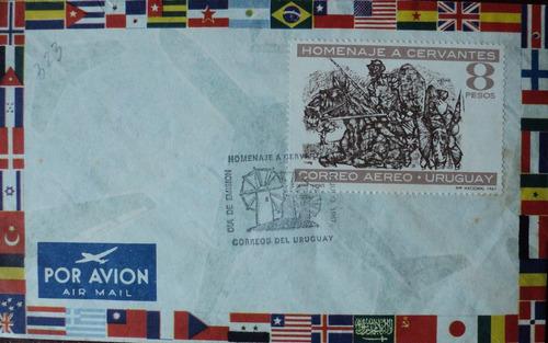 osl sello sobre fdc uruguay quijote a caballo