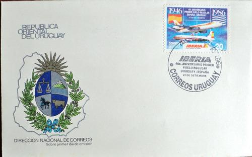 osl sello sobre iberia fdc 1er vuelo madrid 1986 aviación