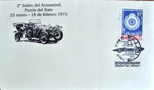 osl  sello sobre uruguay salón del automovilismo 1973