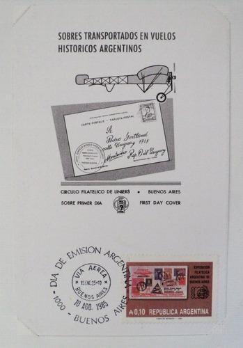 osl sello tarjeta 1er dia fdc argentina 1985 aviación postal