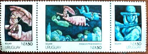 osl sellos 1002/4 uruguay mint pintura solari precio x todos