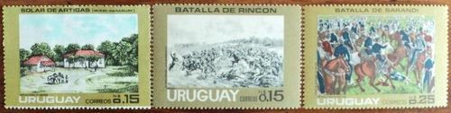 osl sellos 924  al 926 mint uruguay batallas precio x todos