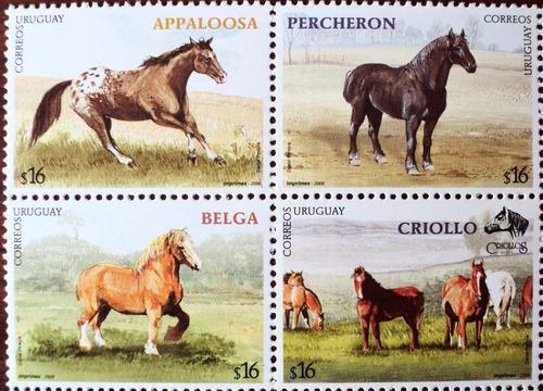 osl serie sellos 2274 al 2277 uruguay caballos
