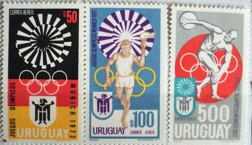 osl serie sellos aéreos 380 a 382 uruguay olímpicos munich