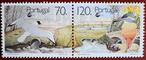 osl serie sellos portugal agua aves fauna