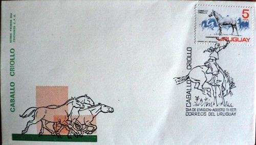 osl sobre sello 1er día uruguay caballo criollo doma gaucho