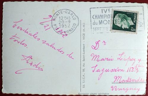 osl tarjeta postal sello mónaco deporte mundial bochas 1952