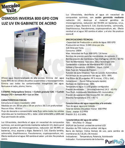 osmosis 800 gpd ultravioleta gabinete acero filtro de agua