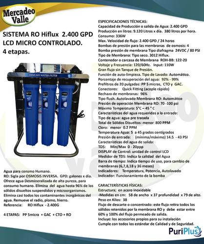 osmosis hiflux 2400gpd filtro agua potable consumo humano