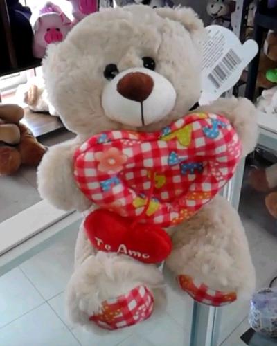 oso de peluche doble corazón 20 cms
