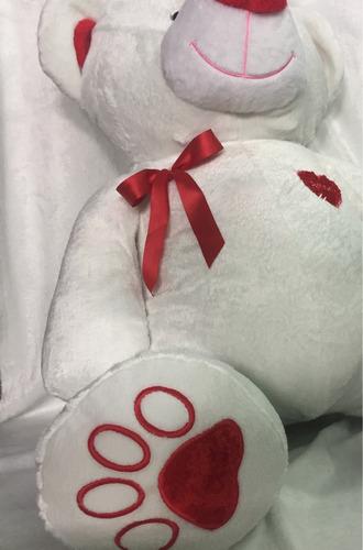 oso de peluche gigante 1,6m real parado bco c/corazón pers.