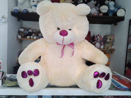 oso de peluche gigante blanco patas violeta