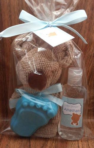 oso de toalla facial, jabon de glicerina y botella de 30 ml