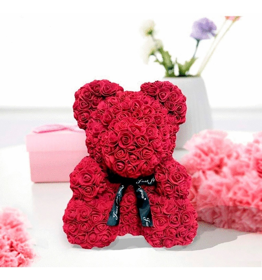 """Rose Teddy Bear 16/"""" !! Oso De Rosas Artificiales Lo MEJOR Para Tu SER AMADO"""