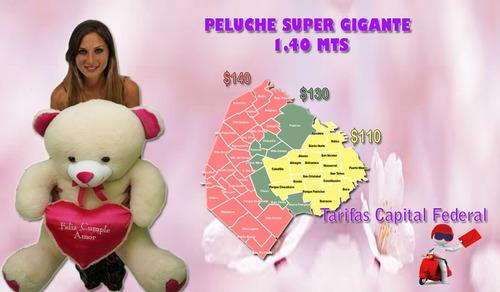 oso gigante 1.40 mts corazón bordado con frase a elección