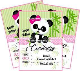 Oso Panda Invitacion Niña Kit Imprimible