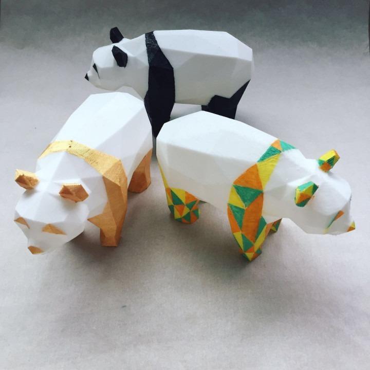 Oso Panda Para Colorear A Gusto Blanco Impreso En 3d