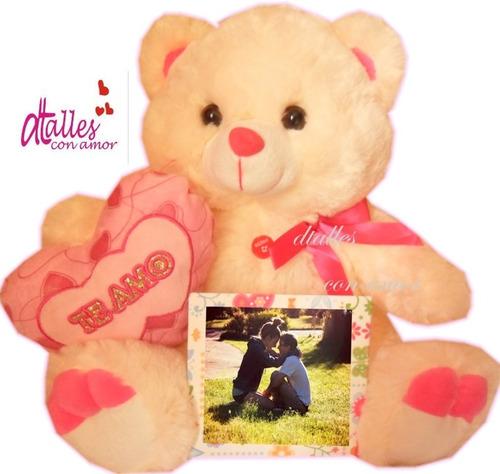 Oso peluches corazon te amo foto personalizada regalos - Peluches con foto ...