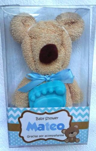 oso toalla facial y jabón en caja de acetato baby shower