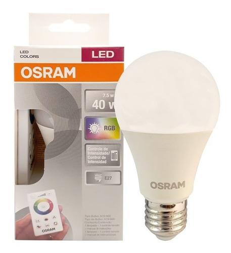 osram - led classic multicolor 7,5w rgb e27 controle remoto