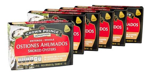 ostiones ahumados crown prince paq con 6 latas de 106g c/u