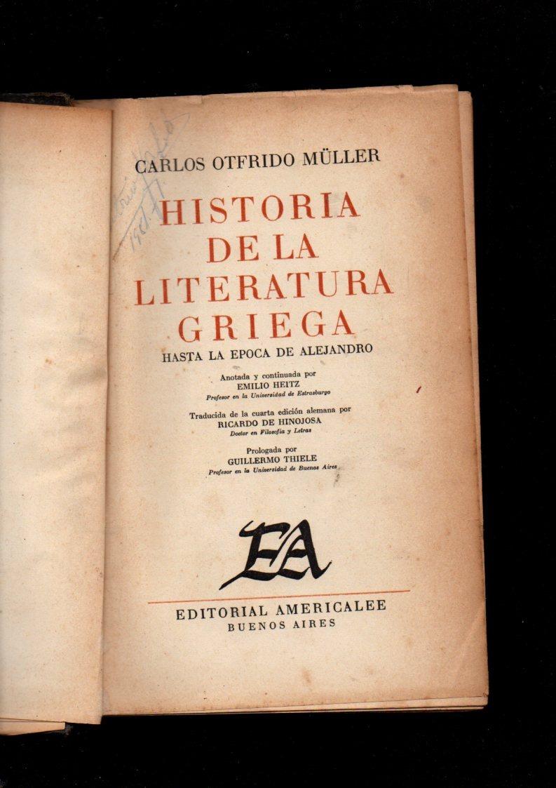 Otfrido Müller. Historia De La Literatura Griega - $ 720,00 en ...