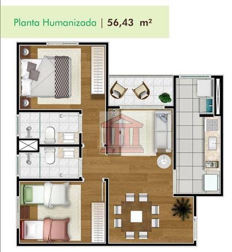 otimo apartamento dois dormitórios . elevador . lazer completo . minha casa minha vida perto da embraer - ap0740