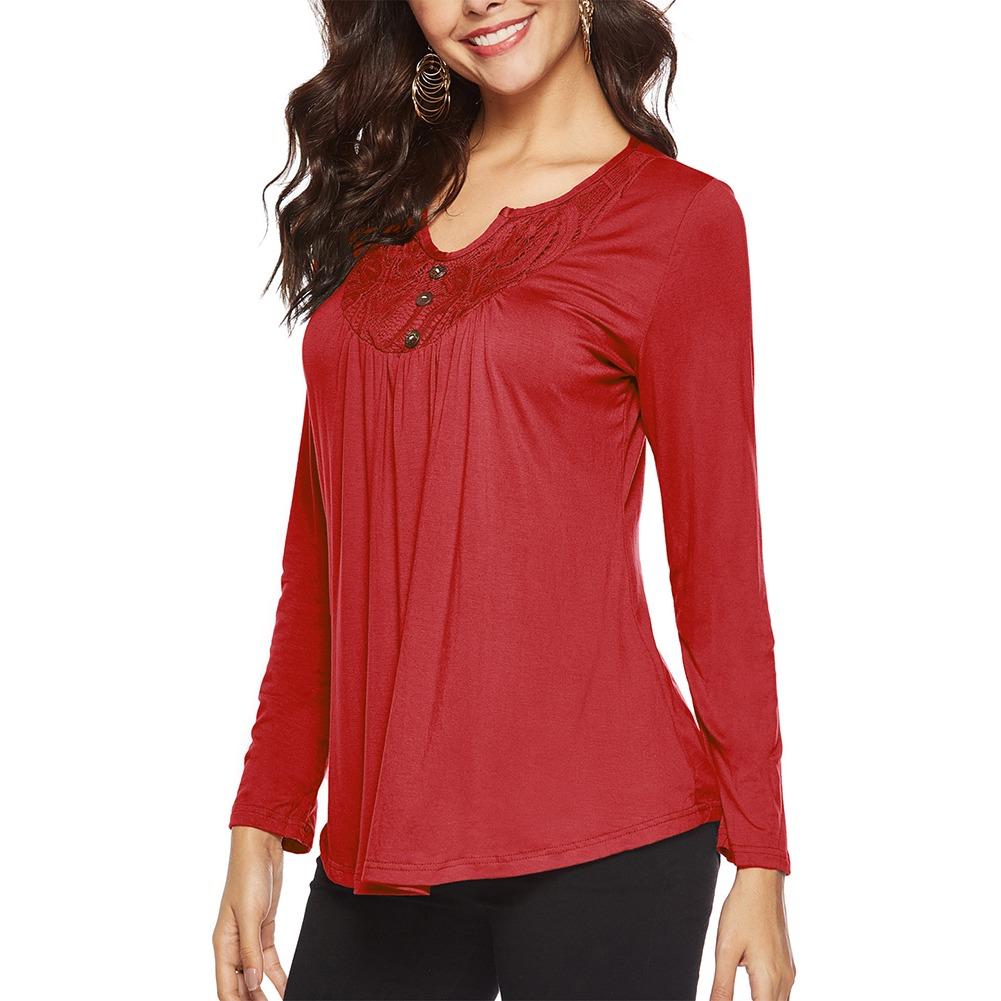 412bd4adf otoño v cuello mujeres suelto t - camisa sólido color larg. Cargando zoom.