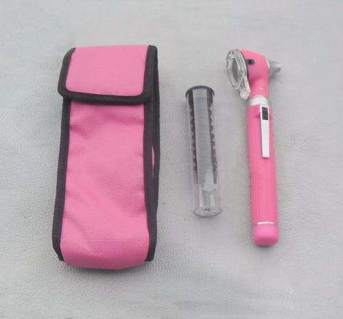 otoscopio rosado fibra optica estuche y envio incluido w01