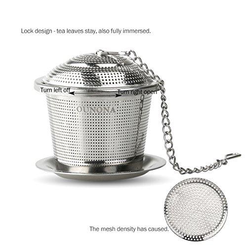 hierbas o especias OUNONA Infusor de t/é Mesh Tea Maker Tubo de acero inoxidable Stick Tea Steeper Colador con gancho para hojas de t/é sueltas