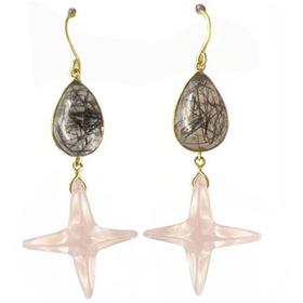 Ouro 18k Brinco Balanço Pedra Cristal Rutílado E Quartz Rosa