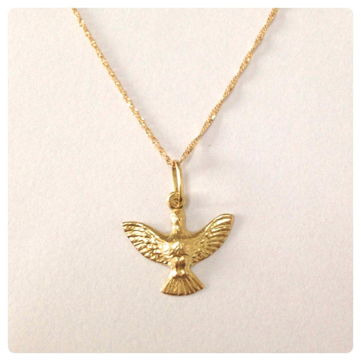 ac6022e1dcd1e ouro 18k cordão feminina 50cm pingente divino espirito santo. Carregando  zoom.