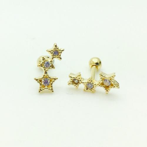 ouro 18k piercing com estrelas cartilagem tragus orelha