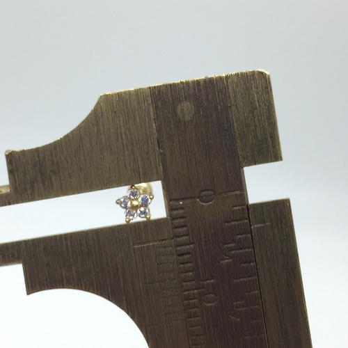 ouro 18k piercing flor ponto de luz cartilagem tragus orelha