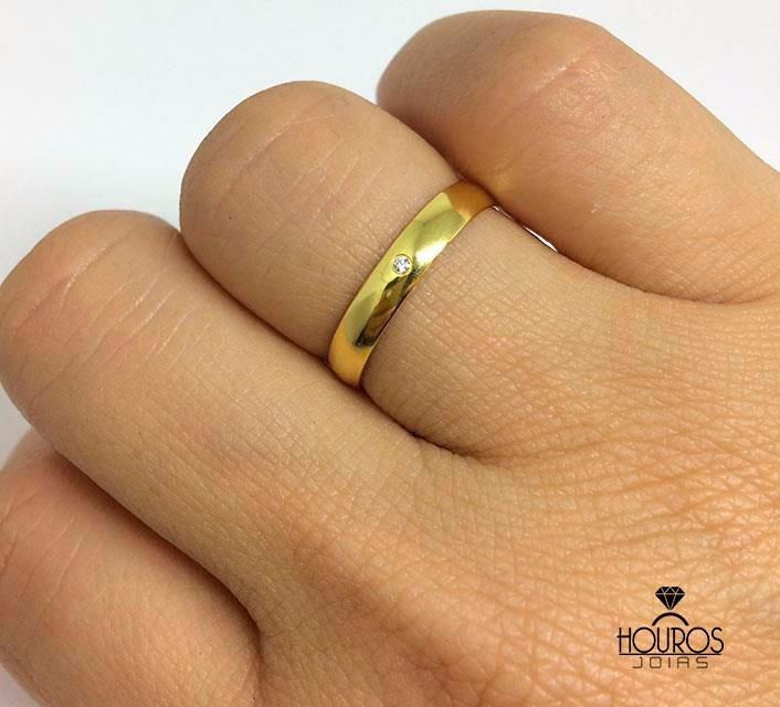 bd0af81755b Par De Alianças Ouro 18k Abaulada 4g Casamento Ou Noivado - R  850 ...