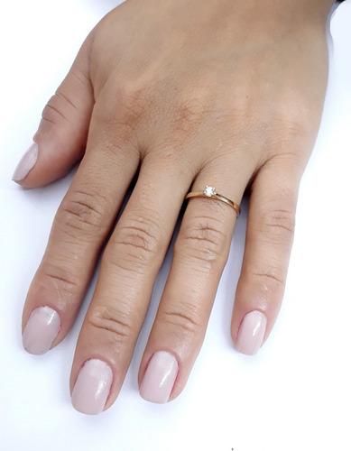 ouro feminino anel solitário