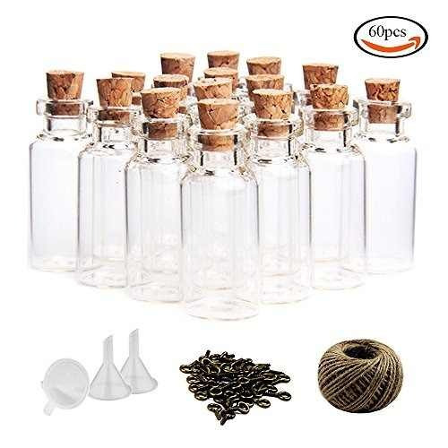outuxed 60pcs 10ml mini frascos de vidrio botellas con tapo